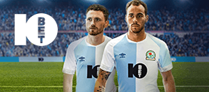 Two Blackburn Rovers players with the 10bet logo