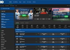 The 10Bet home page, displaying the latest sports, both antepost and in-play