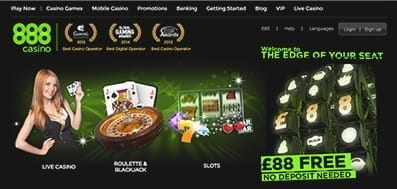 The 888 Casino Homepage - An Overview Of The Games Options And The £88 No-Deposit Bonus
