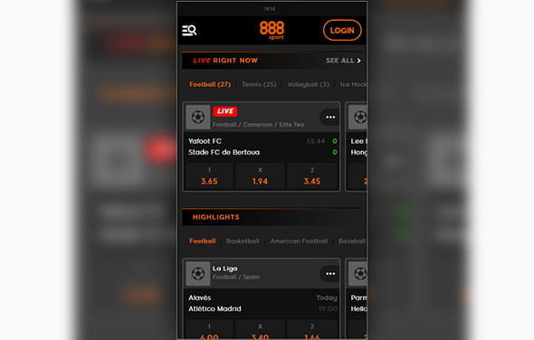 The home page of the 888sport Android betting app
