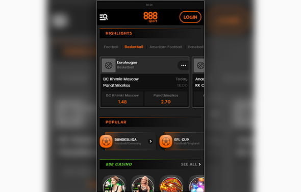 The home page of the 888sport BlackBerry betting app