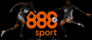 Two players battling for the ball and an 888sport logo