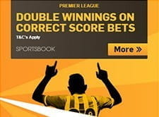 Double winnings on correct score bets at Betfair