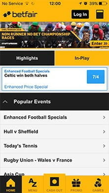 Betting options from the app