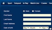 The Betfred player registration form