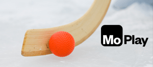 A close-up of a bandy stick and the MoPlay logo