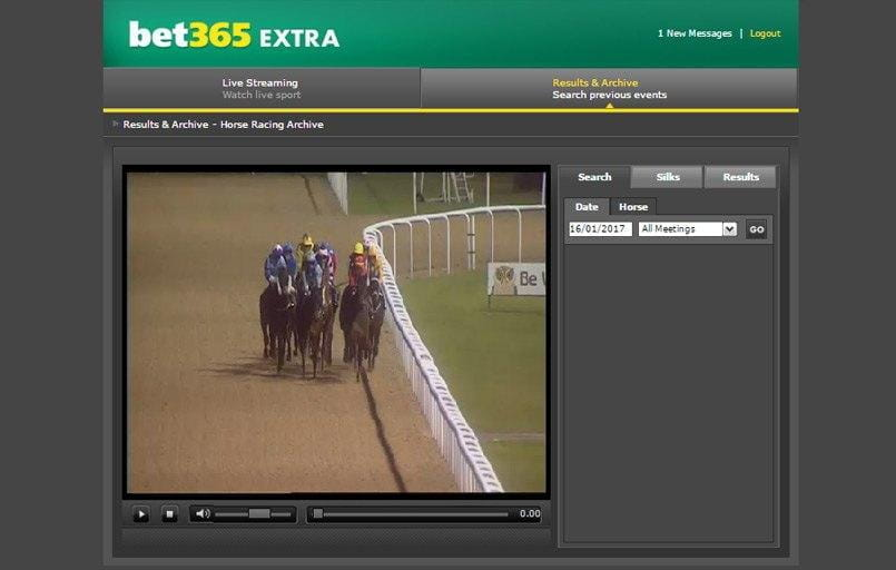 a view of a live horse racing stream at bet365