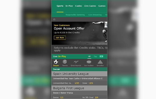 The home page of the bet365 Android betting app