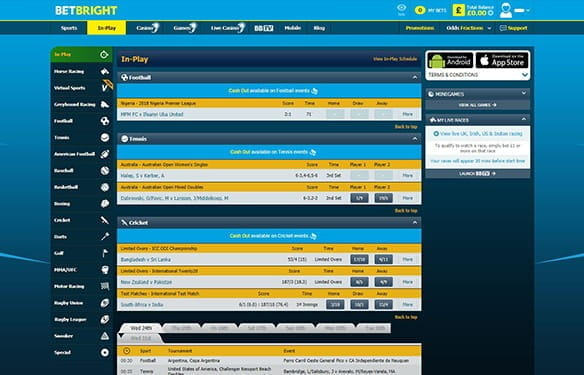 The in-play interface at BetBright