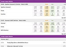 Betdaq football markets page, showing the latest football games and their odds