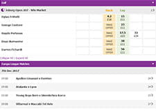 Betdaq live betting platform, showing golf events and Europa League matches