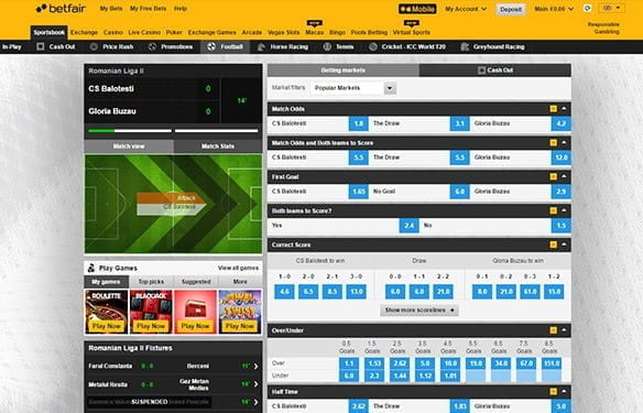 The in-play interface at Betfair