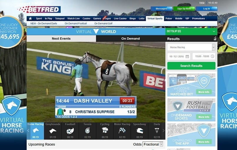 Virtual horse racing at Coral