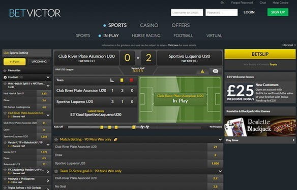 The in-play interface at BetVictor