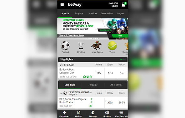 The home page of the Betway Android betting app