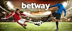 Footballers playinga match and the Betway logo