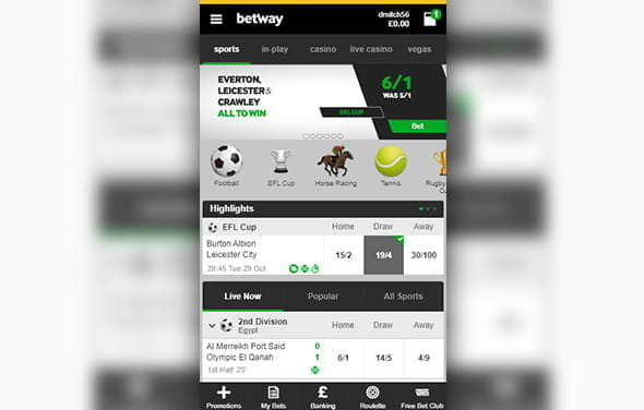 The home page of the Betway Windows Phone betting app