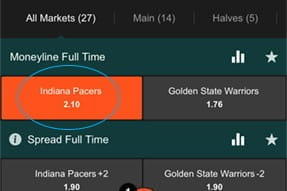 Market options for your chosen competition on the SportNation sportsbook