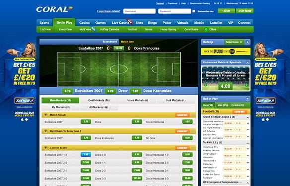 The in-play interface at Coral