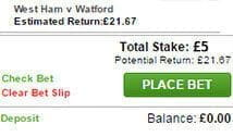 Wager the full £5 on a valid betting market.