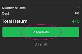 Confirming and placing the bet on 10Bet sportsbook