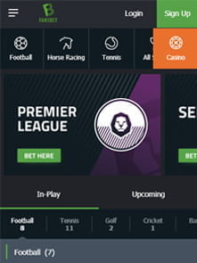 FansBet's home page of the app