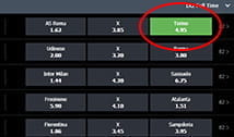 FansBet bet selection page zoomed in