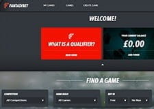 The FantasyBet homepage, displaying the latest promotions and your latest balance