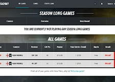 The FantasyBet season page, displaying the games you can participate in