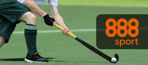 A field hockey player and 888sport logo