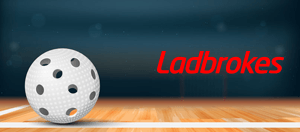 A floorball and the Ladbrokes logo