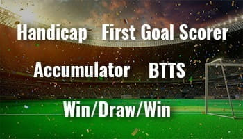 the handicap, first goalscorer, accumulator, both Ttams to score and win/draw/win are just a few of the different bet types that will be explained on this page