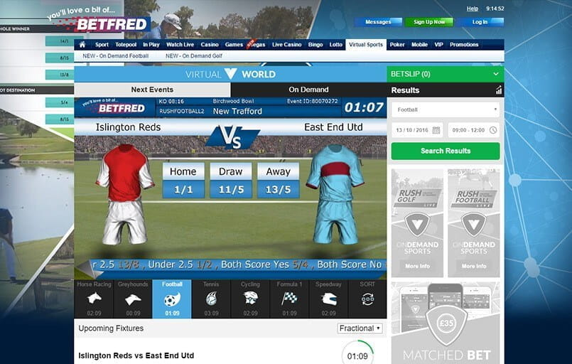 virtual football betting at Betfred