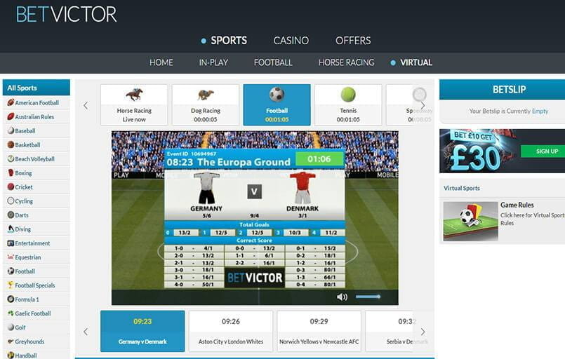 virtual football betting at BetVictor