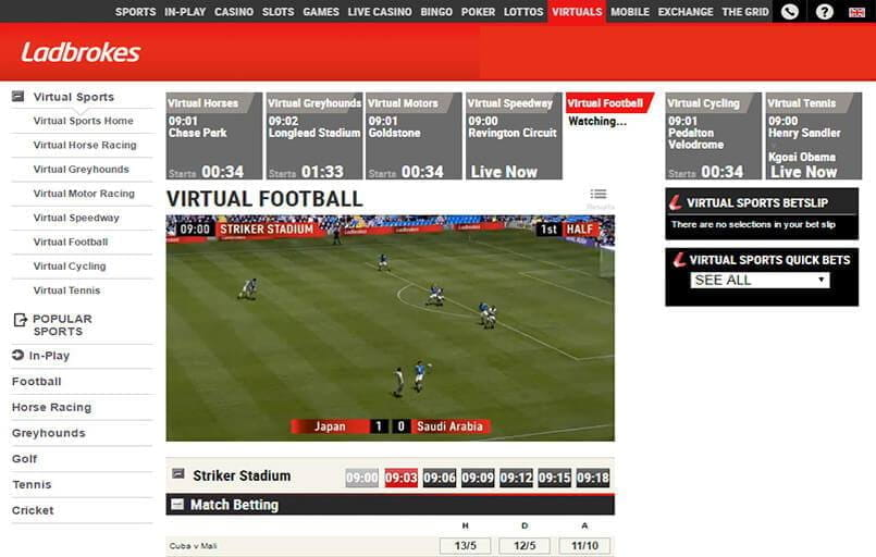 virtual football betting at Ladbrokes