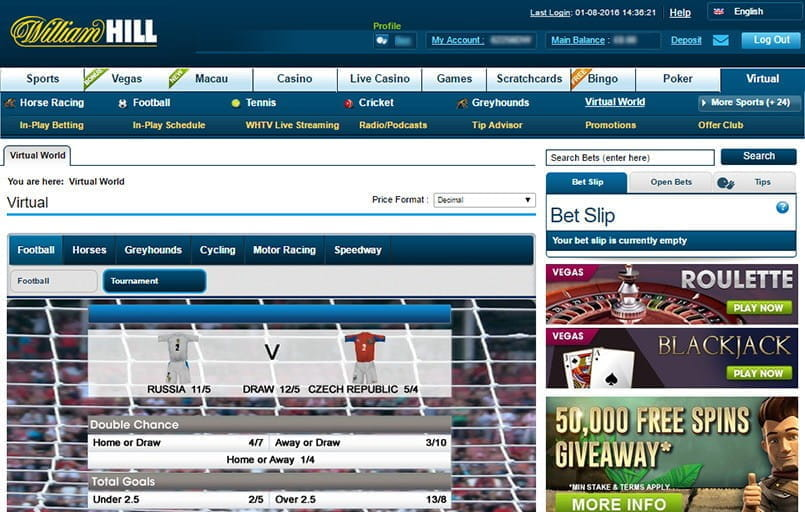 virtual football betting at William Hill