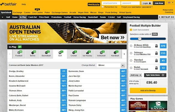 betting on golf live at betfair