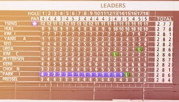 a typical golf leader board