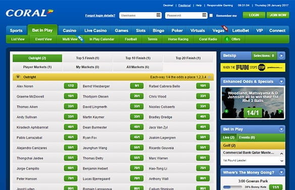in play golf betting at coral