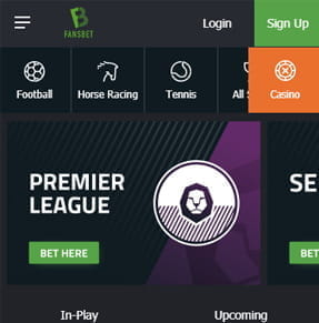 The FansBet home screen of the app