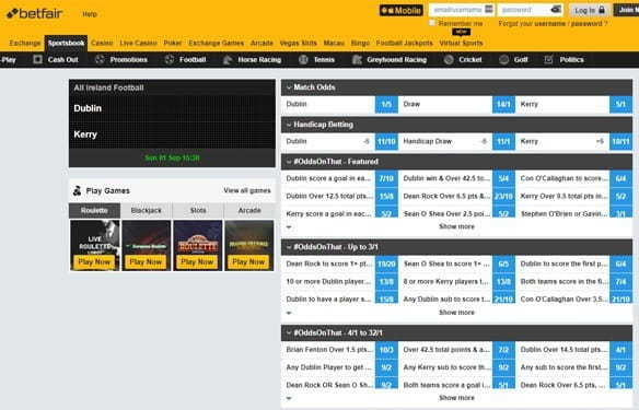 In-play Gaelic sports betting at Betfair