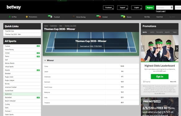 In-play betting at Betway