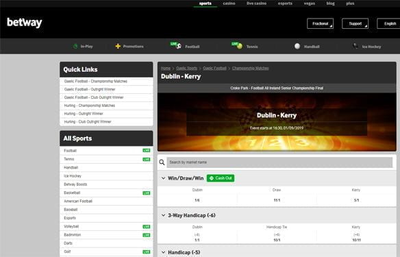 In-play Gaelic sports betting at Betway