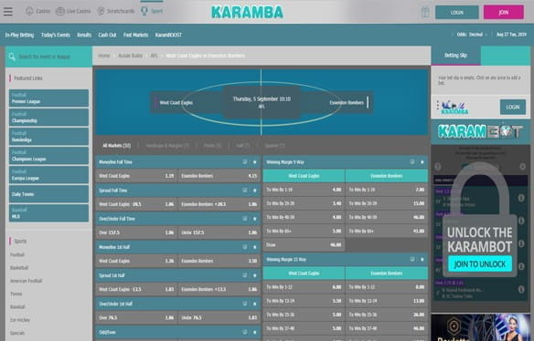 In-play betting at Karamba