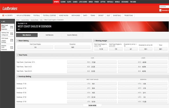 In-play betting at Ladbrokes
