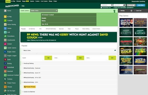 In-play Gaelic sports betting at Paddy Power
