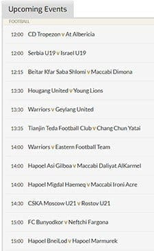The thumbnail image of the 21Bet in-play schedule which shows all of the latest sports that are going to come up