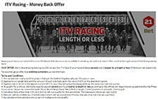 An image advertising the ITV racing money back offer displaying horses running in a race