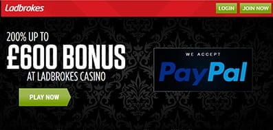 The Ladbrokes Casino Homepage - An Overview Of The Games Options And The £600 Welcome Bonus