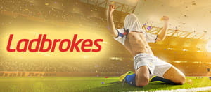 Ladbrokes logo and a player celebrating